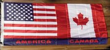 Wholesale Lot Of 12 Usa America Us Canada 3X5 Flags half canadian U.S.A. 5ft