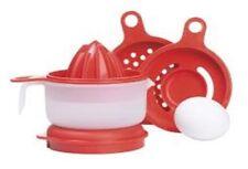 Vintage Tupperware Cooks Maid Gadget Red Egg Separator Grater Reamer Zester Bowl