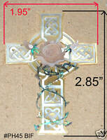 PH45# Triquera Cross W Rose Inlay Abalone, White, Gold Mother of Pearl
