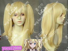 kobato New Fashion Long Blonde Mix Cosplay Wigs with Two 2 Ponytails + hairnet