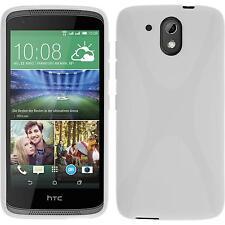 Silikon Hülle für HTC Desire 526G+ weiß X-Style + 2 Schutzfolien