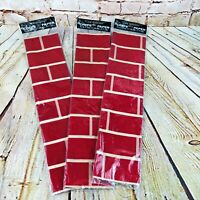 lot of 3 Vtg Christmas Crepe Paper fireplace Brick Pattern Holiday decoration