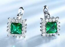Unique 925 Silver Princess Emerald & CZ 2.60CT Clip Earrings 14k White Gold Over