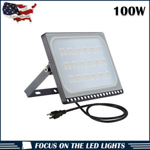 1 x100W LED Flood Light Warm White Outdoor Security US Plug Yard Lamp US Stock
