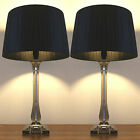 Pair of New Deco Modern Desk Designer Art Bedside Table Lamps with Black Shade