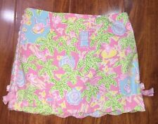 Lilly Pulitzer Pink Green Blue Tropical Poolside Monkey Skirt Skort Size 6X