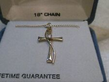 """14kt. G.F. Cross Necklace with CZ, 18"""" Chain, Belair, Unused New In Box"""