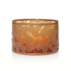 Amber Leaves Shimmer Glass Metal Jar Shade Yankee Candle ombre autumn golden top