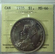 1935 Canadian Silver One Dollar Coin ICCS Graded MS-66
