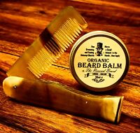 30ml Organic Beard Balm by Revered Beard + Carved Ox Horn Folding Beard Comb