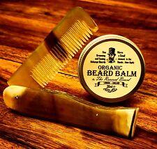 30ml Orgánico Bálsamo Barba por venerado Barba + Tallada cuerno de buey Plegable Barba Peine