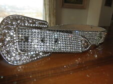 Vintage Montana Ranch Attic Find Nocona Boot Bling Rhinestone Belt Glass Cross