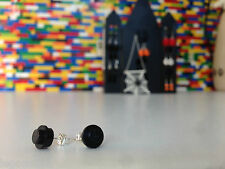 Pair Handmade MonkiStuff Black Stud Earrings made from LEGO® Bricks Halloween