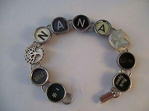 Vintage Typewriter Key Bracelet NANA 8 Glass Keys Hand Made OOAK Tree Butterfly