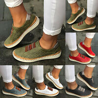 Womens Flats Pump Ladies Platfrom Slip On Casual Work Comfy Boat Loafers Shoes