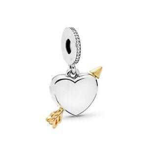 New European Golden Cz Charm Beads Pendant Fit Sterling Bracelet Chain Diy H-09