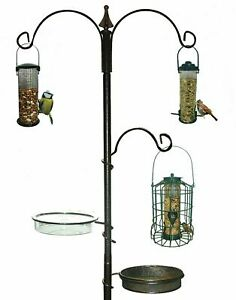 Wild Bird Feeding Station -Garden Hanging Steel Feeder Table Water Bath Tray-BFS