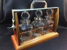 Antique TANTALUS .3 carafes .Cave à liqueur en cristal.1900's. Val Saint Lambert