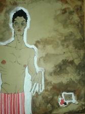 EGON SCHIELE omaggio copia bordo tela acrilico e acquerello originale