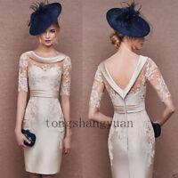 Elegant Mother Of Bride Dresses Knee Length Formal Evening Gowns Lace V Back New