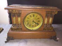 Amazing Antique Seth Thomas Oak Column Mantle Clock