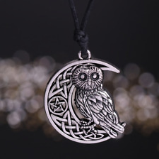 Owl Pendant Necklace With Moon & Stars Unisex Necklace witchcraft & Wicca Style