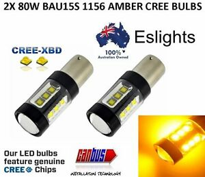 2 X 12V BAU15S AMBER 80W CREE INDICATOR TURN SIGNAL CAR UTE LIGHT BULB GLOBE 4WD