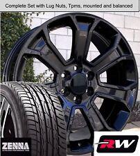"20 x9"" Wheels and Tires for Chevy Silverado 1500 Replica 5665 Gloss Black Rims"