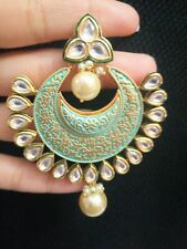Bollywood Meenakari Gold Plated Ethnic Kundan Pearl Drop Hoop Earrings