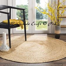 Round Rug Braided Jute Ornamental 5 ft Handwoven Floor Reversible Weave Indian