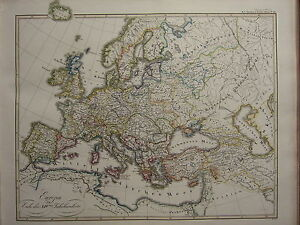 1846 SPRUNER ANTIQUE HISTORICAL MAP ~ EUROPE end of 14th CENTURY FRANCE GERMANY
