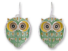 Zarah Zarlite Silver Plated Enamel Owl Dangle Earrings Artist Paul Brent