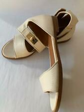 GIVENCHY Off White Pebble Leather Ankle Strap Sandals with Gold Toggle  EU 37/38