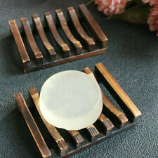 Bamboo Soap Rack Dish Holder Rack Tray Plate Natural Wood Bathroom Us New
