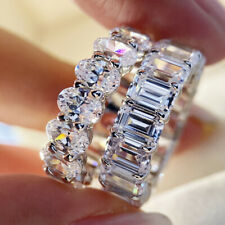 Luxury Shiny 925 Silver White Sapphire Stackable Eternity Ring Wedding Jewelry