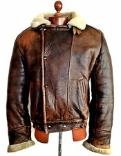 Vtg Mens LEATHER SHEEPSKIN Shearling Flying Pilot Aviator B-3 Bomber Jacket Coat