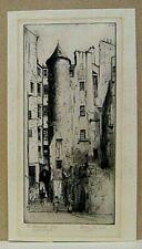 vintage, dry point etch., The Advocates Close, Edinburgh, Scotland,  R.W.Stewart