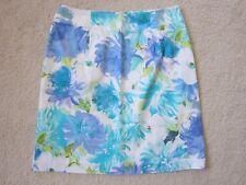 DRESSBARN Women's Size 4 Straight Pencil Skirt Purple Blue Floral Print Stretch