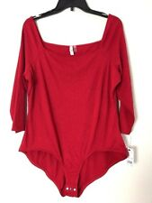 NY Collection Red Women's Size Medium off The Shoulder Snap Bottom Bodysuit