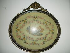 "Antique 19th Century Castle in Needlepoint & Petite Point Oval - 18"" x 18"""