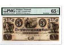 1830s $5  Tecumseh Bank  Tecumseh, Michigan  MI440-G6  PMG 65 EPQ  19-C232
