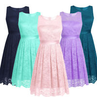 Women's Floral Lace Bodycon Short Sleeve Formal Wedding Prom Party Evening Dress