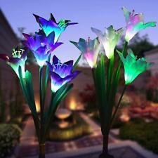 New listing 2× Solar Power Led Lily Light Waterproof Outdoor Garden Stake Led Flower Lamp