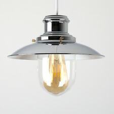 Modern Industrial Chrome Fishermans Ceiling Light Pendant Shade Lampshade Home