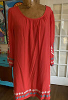 Tunic BOHO embroidered size XL coral turquoise boutique 3/4 sleeve