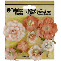 Mixed Blossoms ANTIQUE PEACH 8 Paper Flowers 25-45mm across Penny Lane Petaloo