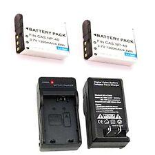 2X Batteries + Charger for Casio EX-Z850 EX-Z1000 EX-Z1050 EX-Z1050BE EX-Z1050BK