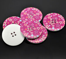 5 Wooden LARGE Deep Pink Star Buttons 40mm Sewing scrap book quilting Free UK P&