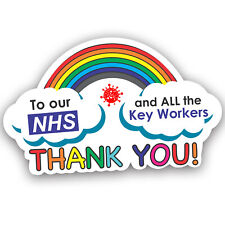 NHS RAINBOW Car Window Sticker, Thank You Proud To Support Heroes We Love You