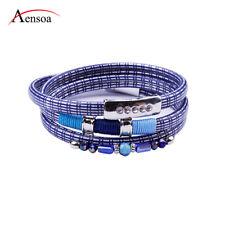 Fashion PU Leather Rhinestone Bracelet Wrap Chain Rope Women Jewelry Bangle Gift